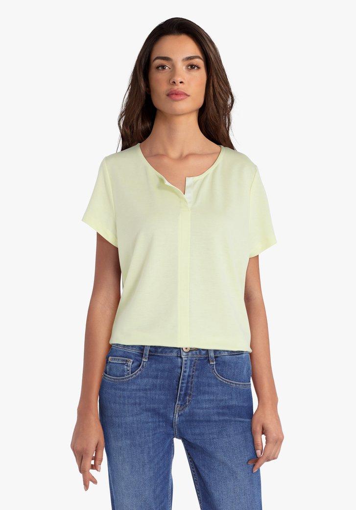 Lichtgeel T-shirt met V-hals