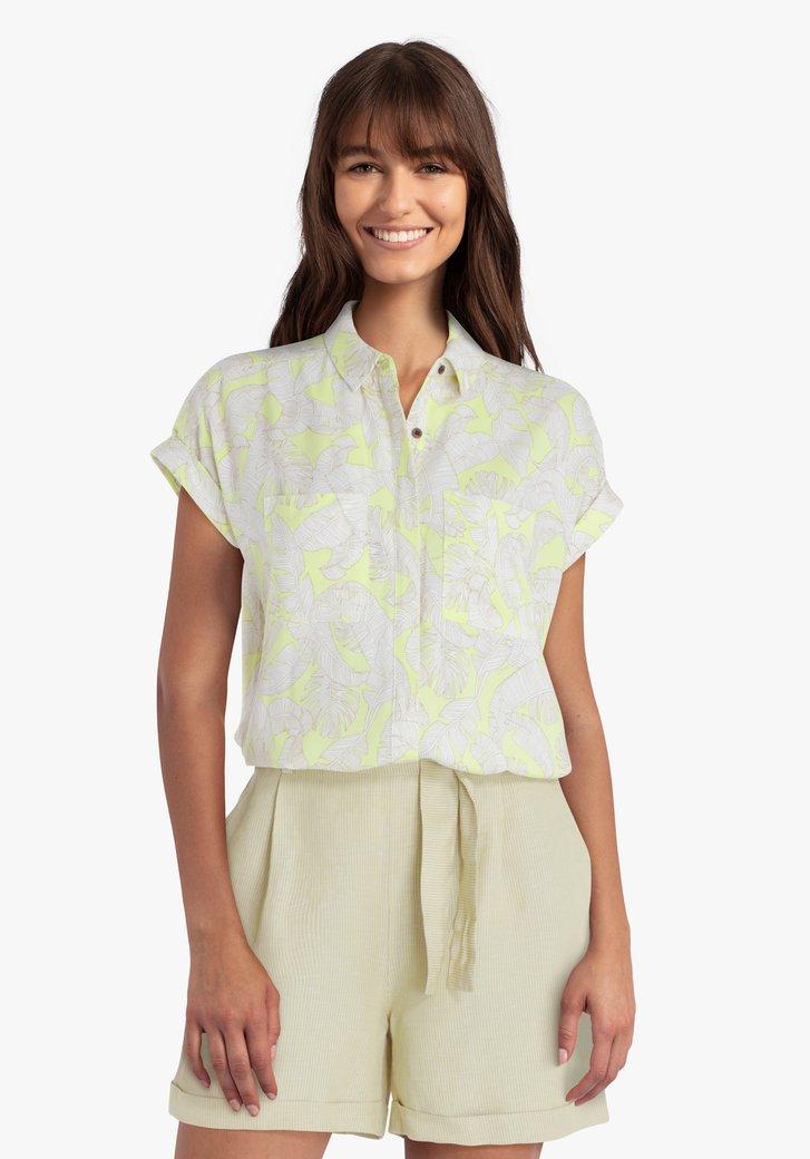 Lichtgele blouse met witte bladerprint