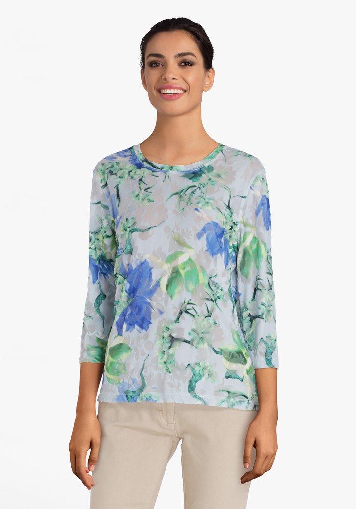 Lichtgrijs fluwelen T-shirt met bloemen en ajour