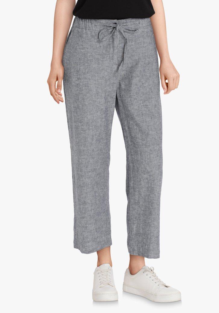 Lichtgrijze linnen broek – straight fit