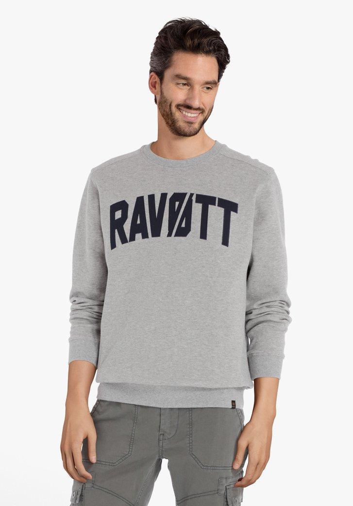 Lichtgrijze sweater met ronde hals en opschrift