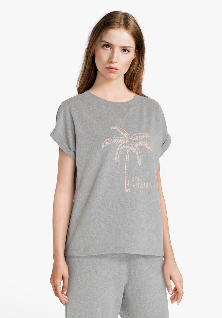 Afbeelding van Lichtgrijze T-shirt met palmboom