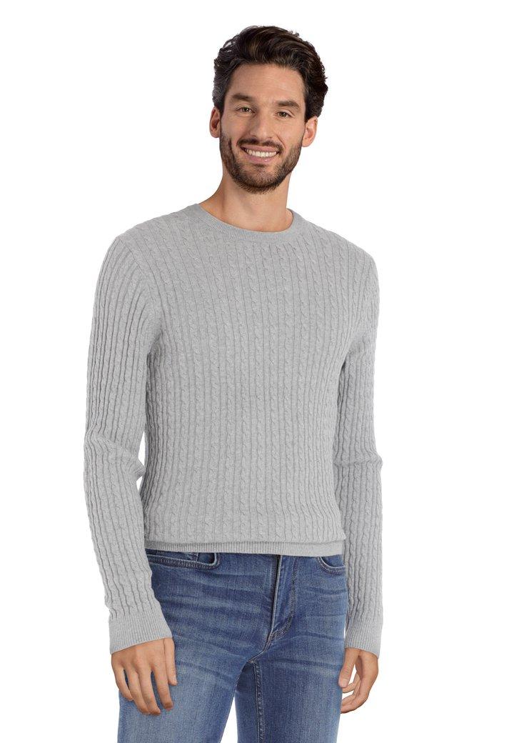 Afbeelding van Lichtgrijze trui met kabelmotief en ronde hals