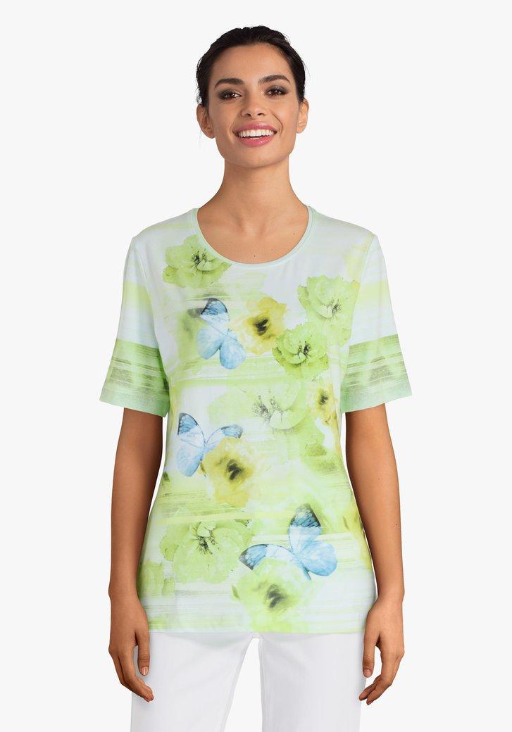 Lichtgroen T-shirt met blauwe vlinders