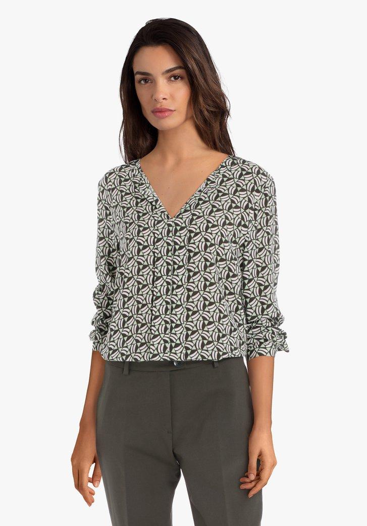 Lichtgroene blouse met geometrische print