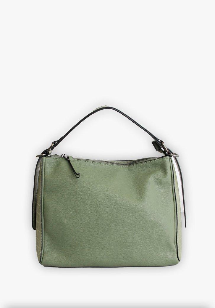 Lichtgroene handtas met accentvlak