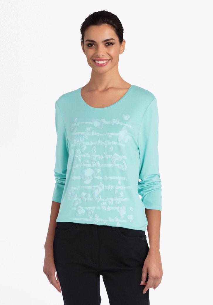Lichtgroene T-shirt met panterprint en glitter