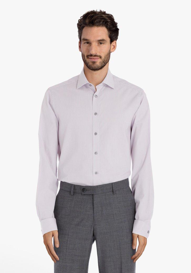 Lichtroze gestreept hemd – regular fit