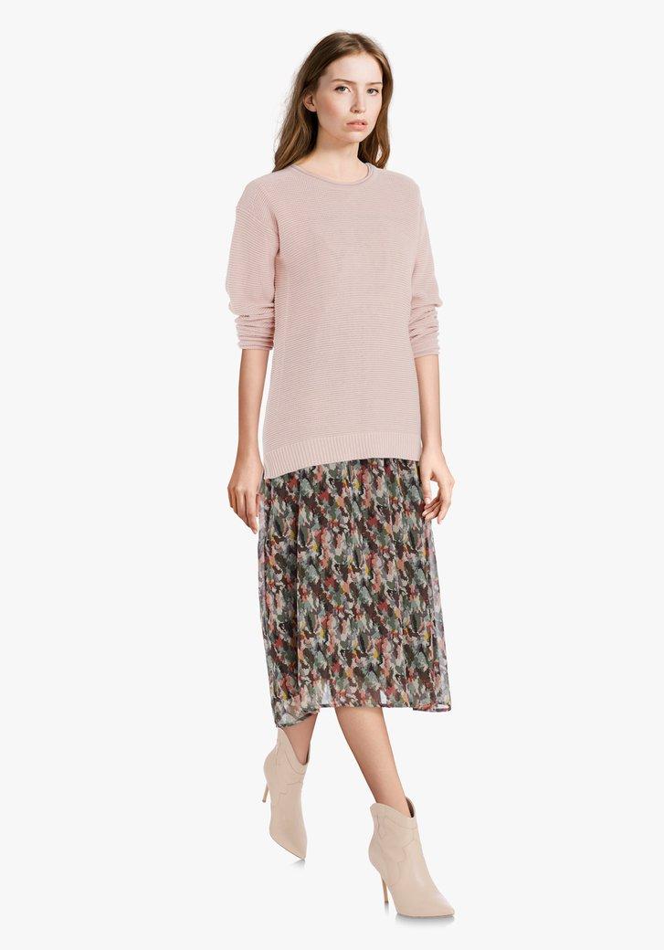 Lichtroze katoenen trui in fijn tricot