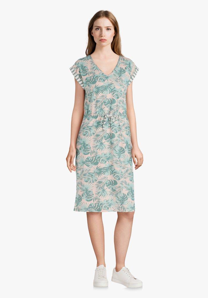 Afbeelding van Lichtroze kleed met groene bladerprint