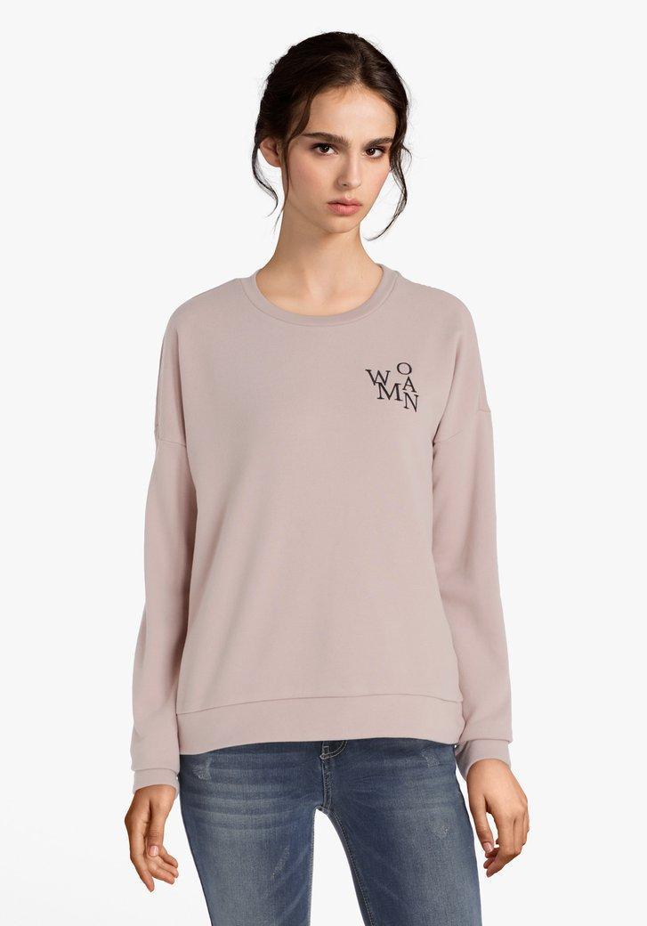 """Lichtroze sweater """"WOMAN"""""""