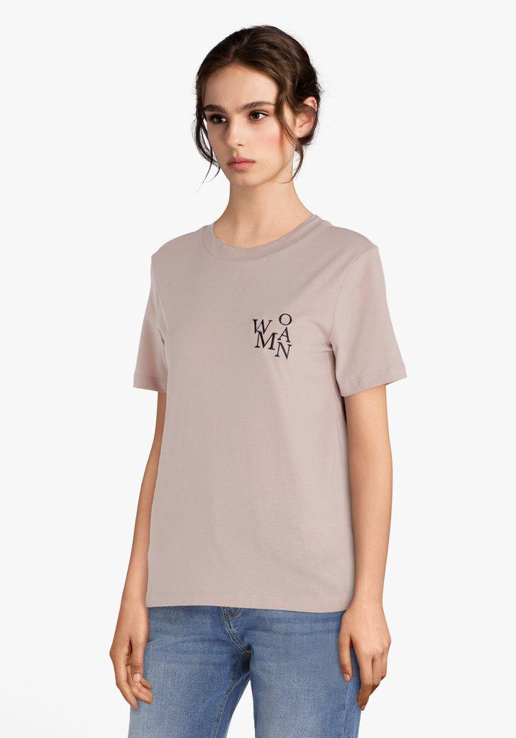 "Lichtroze T-shirt ""WOMAN"""