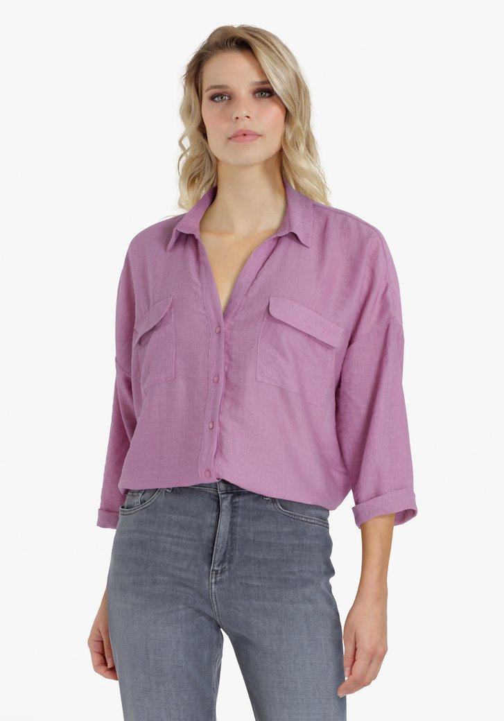 Lila blouse in structuurstof met 3/4 mouwen