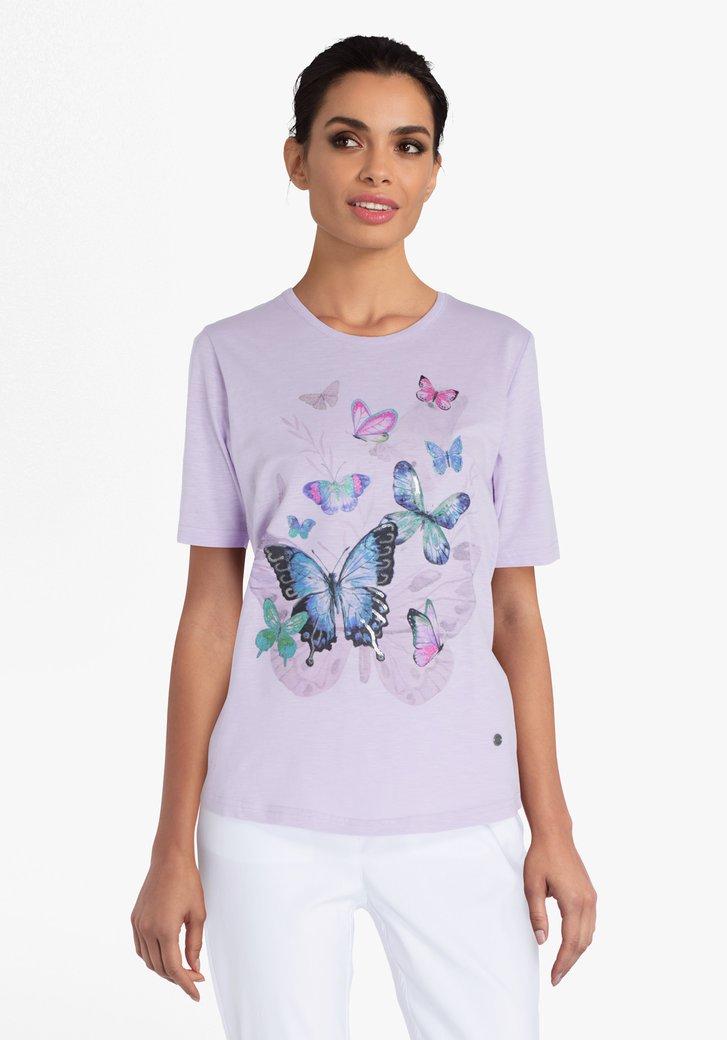 Lila T-shirt met vlinders