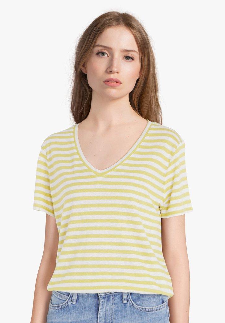 Limoengroen-wit gestreept T-shirt met linnen