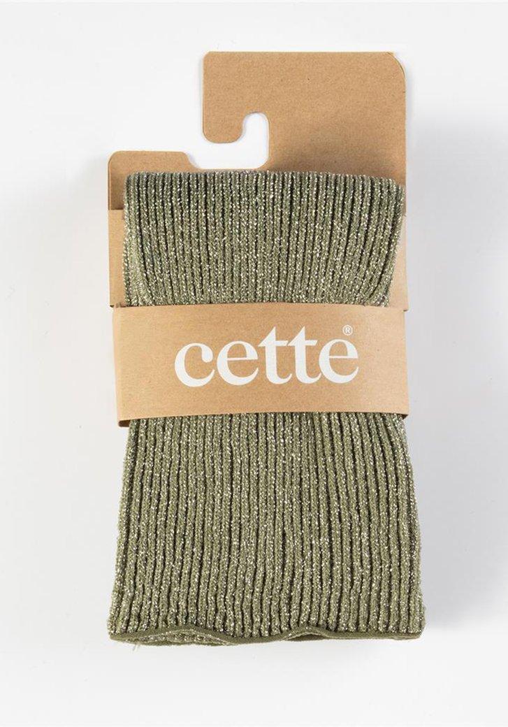 Longues chaussettes à paillettes vert olive