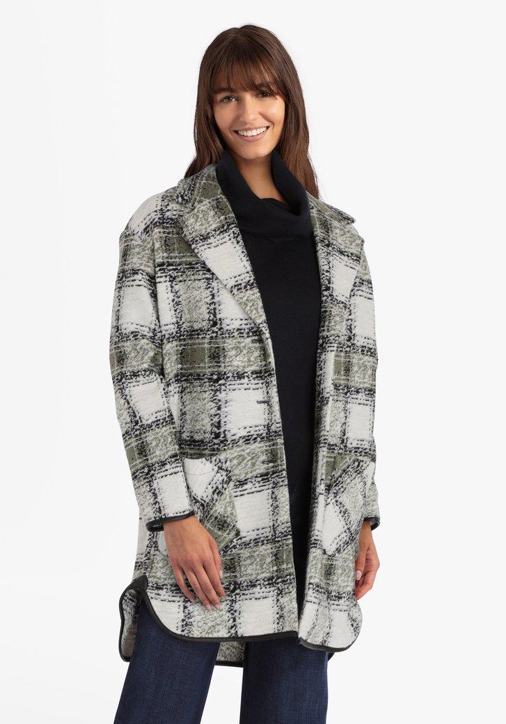 Manteau à carreaux kaki et blanc