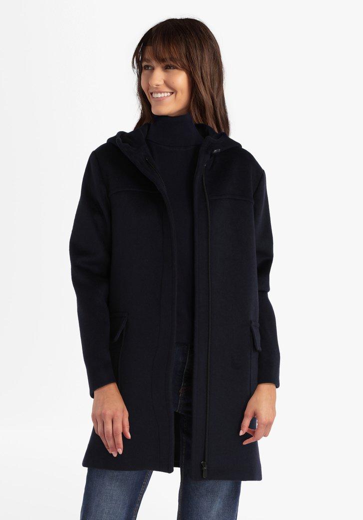 Manteau bleu foncé avec capuchon