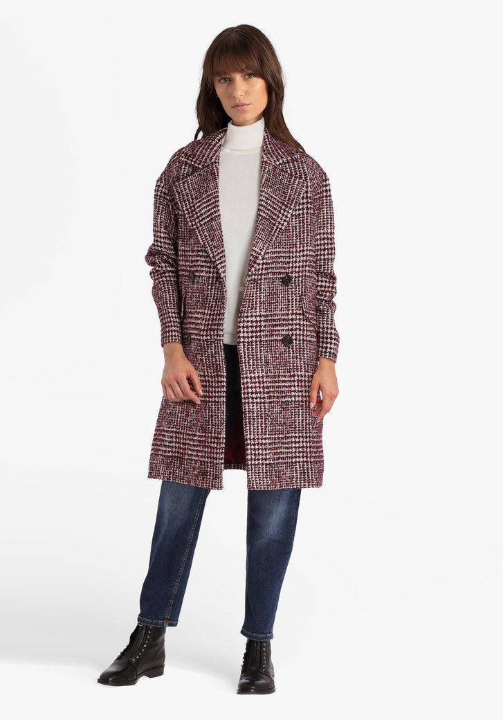 Manteau bordeaux à carreaux avec laine