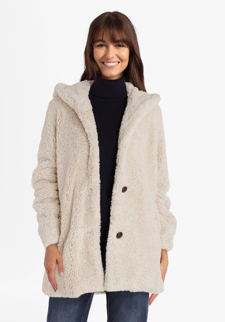 Manteau en teddy beige