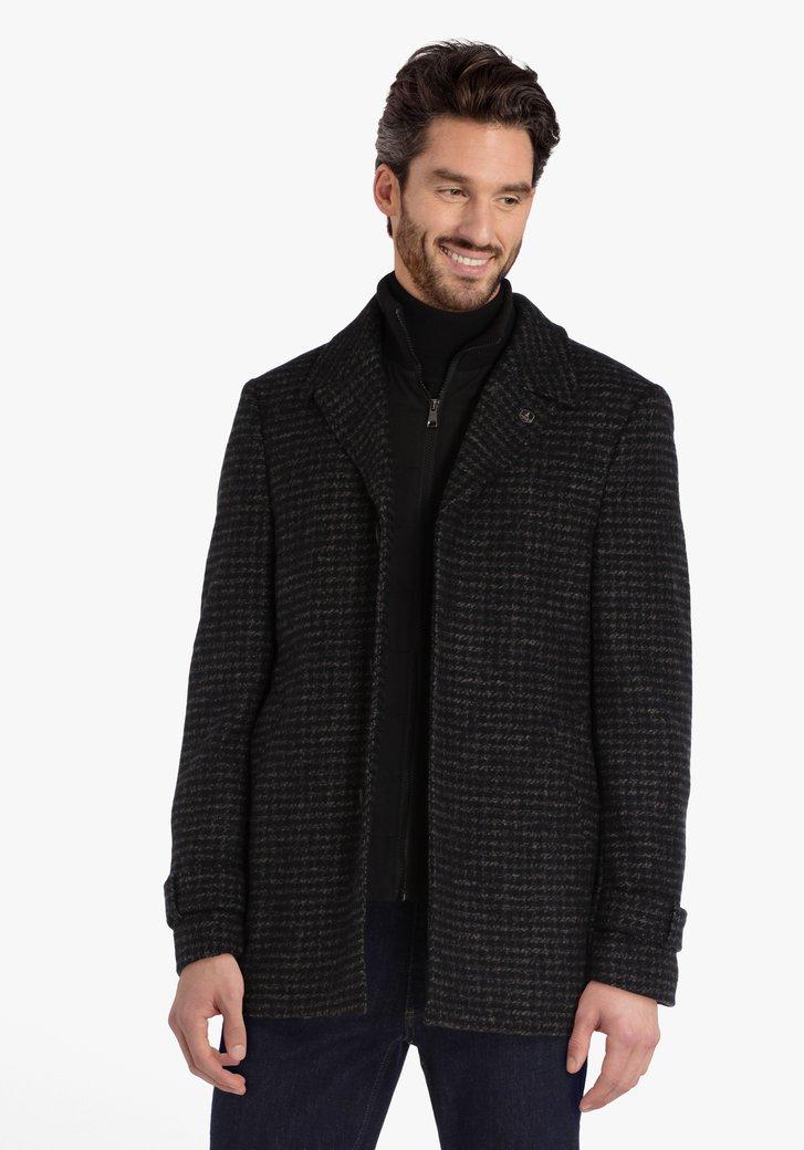 Manteau gris foncé à motif