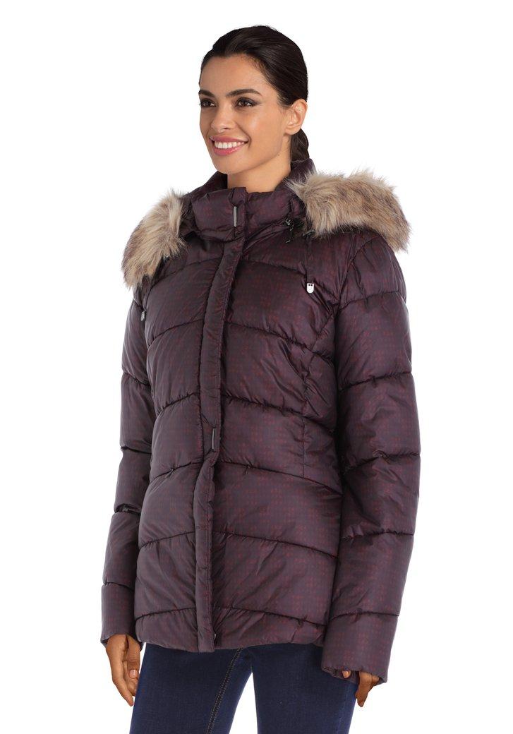 Manteau matelassé bordeaux avec capuche amovible