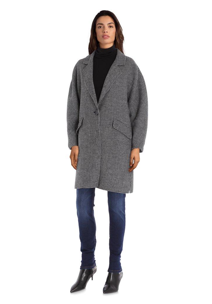 Manteau noir et blanc en laine fait main
