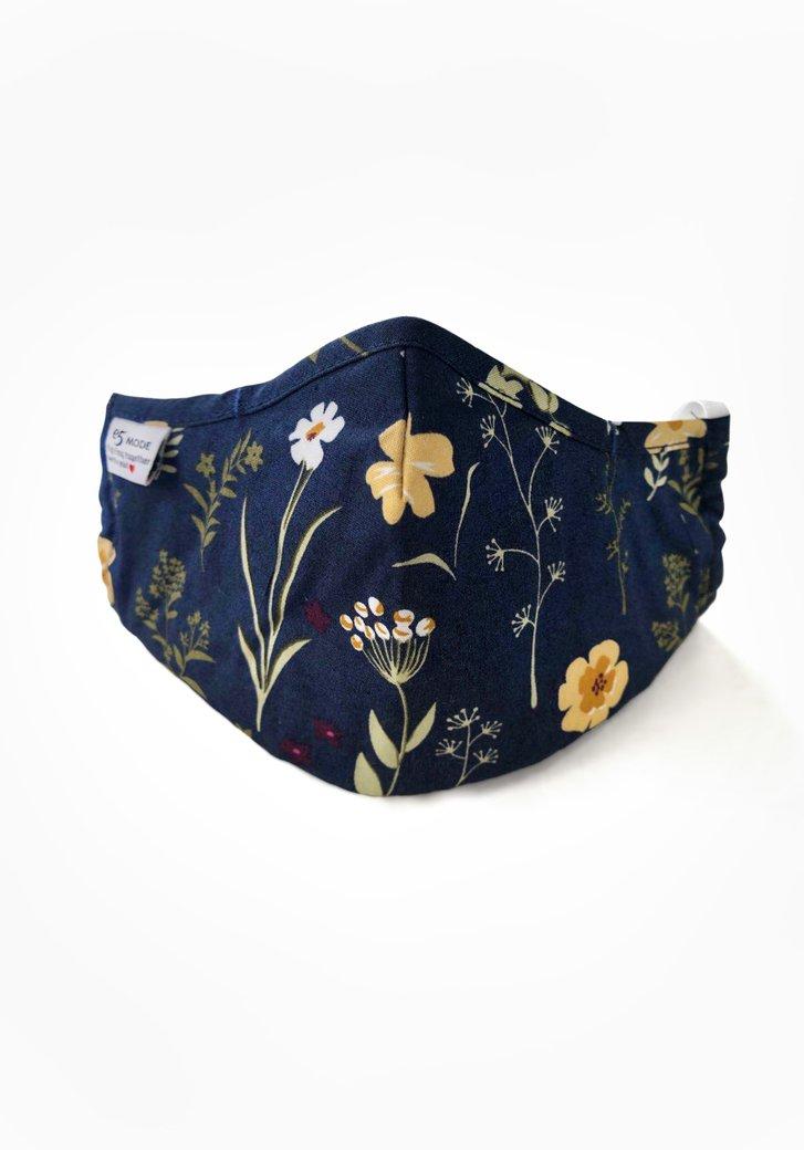Masque buccal - bleu à fleurs jaunes
