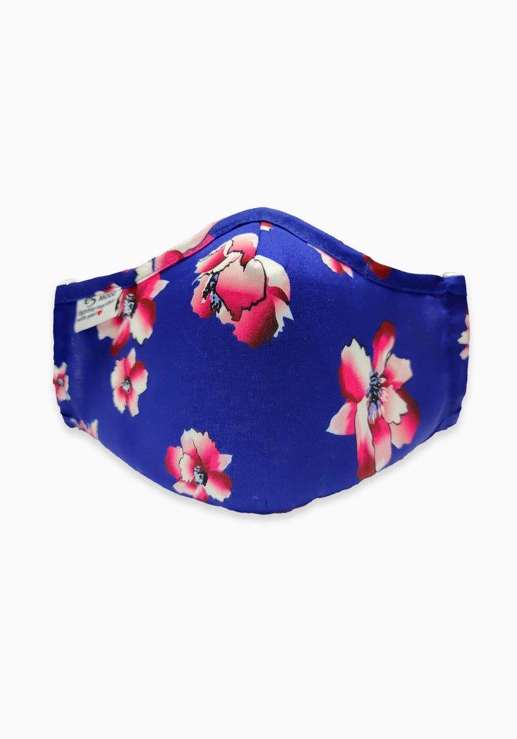Masque buccal - bleu avec des fleurs roses