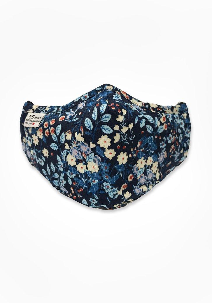 Masque buccal - bleu marine avec des fleurs