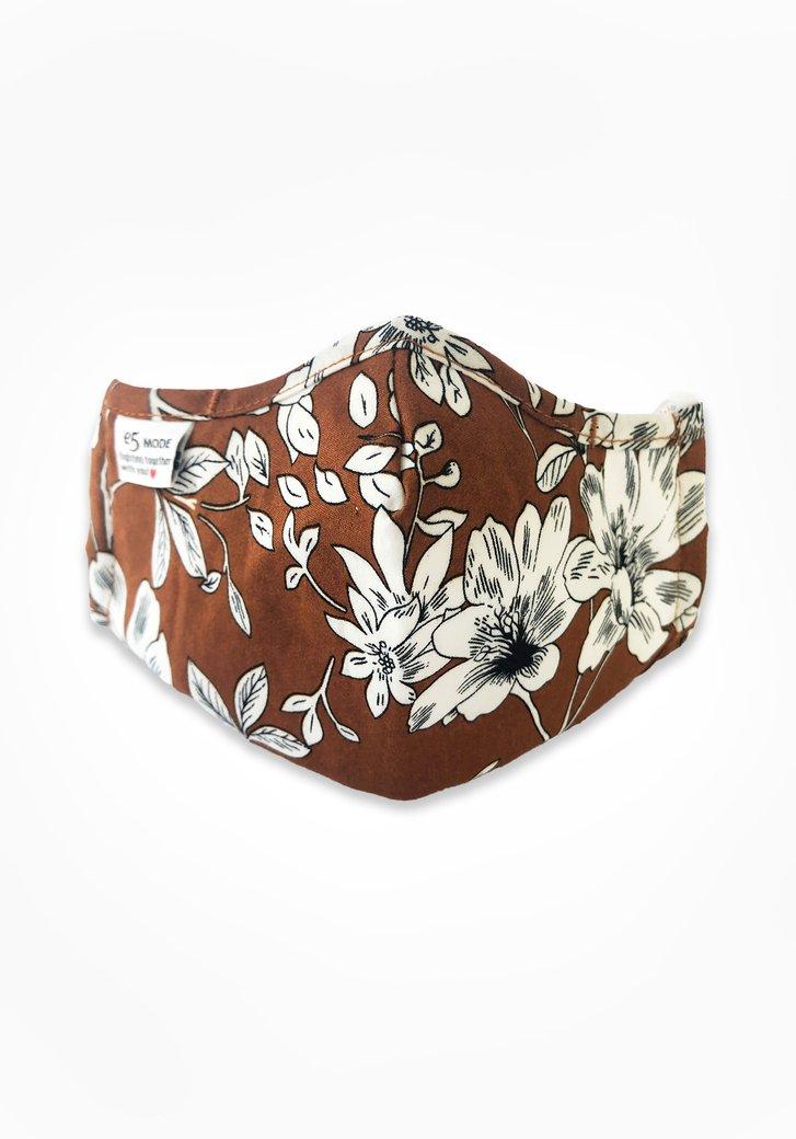 Masque buccal - brun avec des fleurs blanches