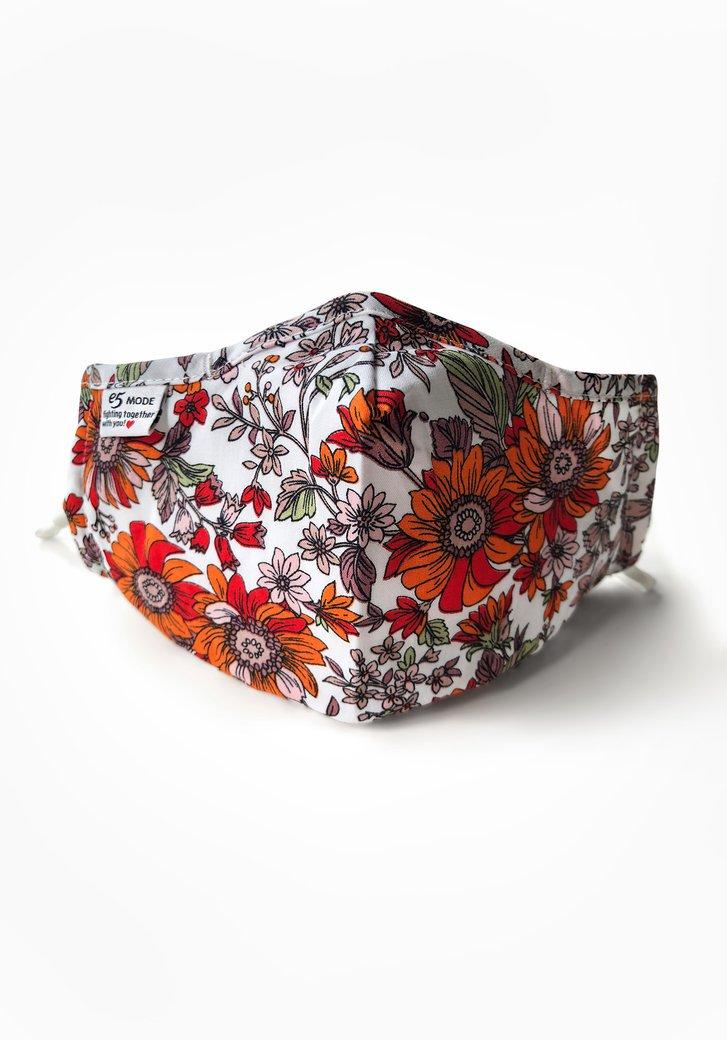 Masque buccal - des fleurs orange et rose