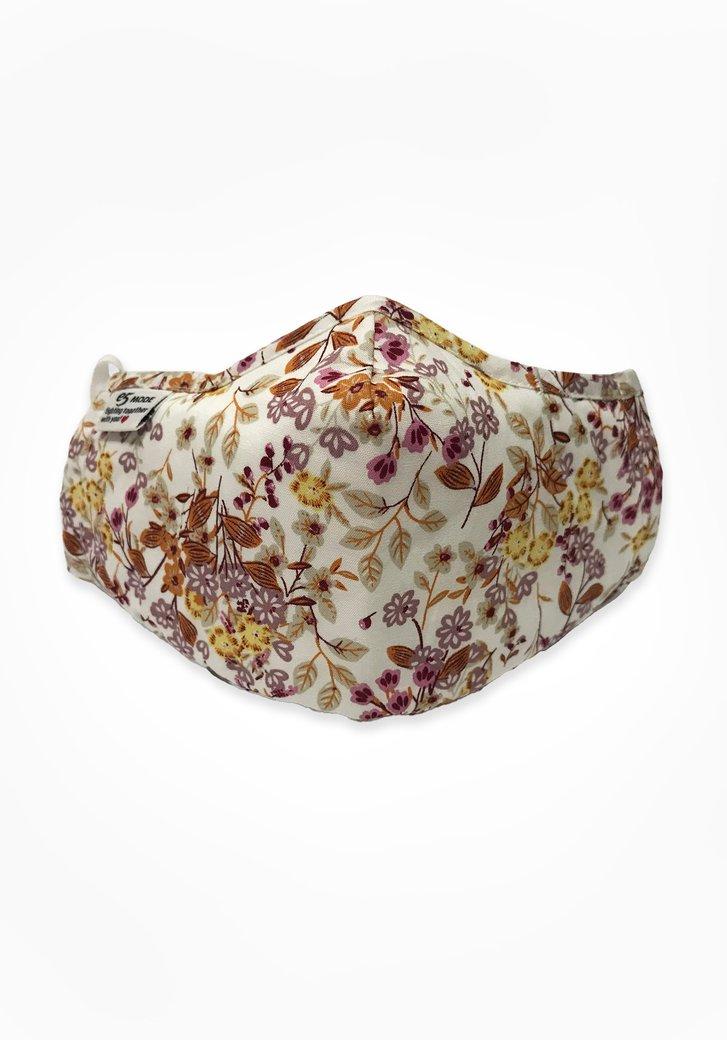 Masque buccal - écru avec de fleurs pastel