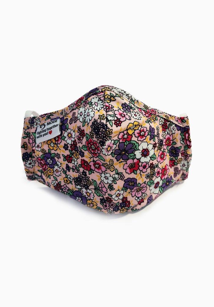Masque buccal - enfants - rose à fleurs colorées