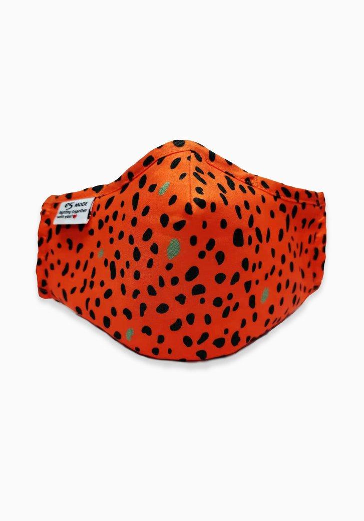 Masque buccal-rouge corail avec des taches noires