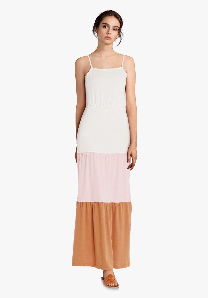 Maxi-robe blanche avec colorblocking et volants