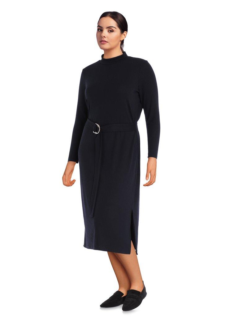 Maxi-robe noire en jersey côtelé