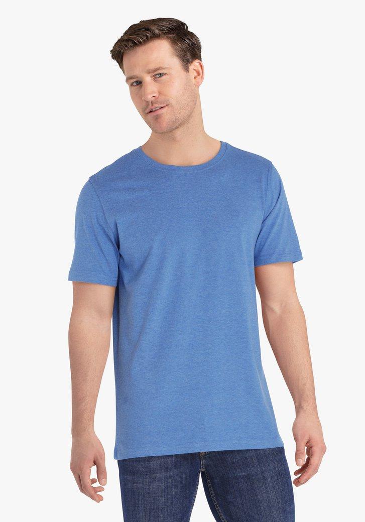 Mediumblauwe katoenen T-shirt