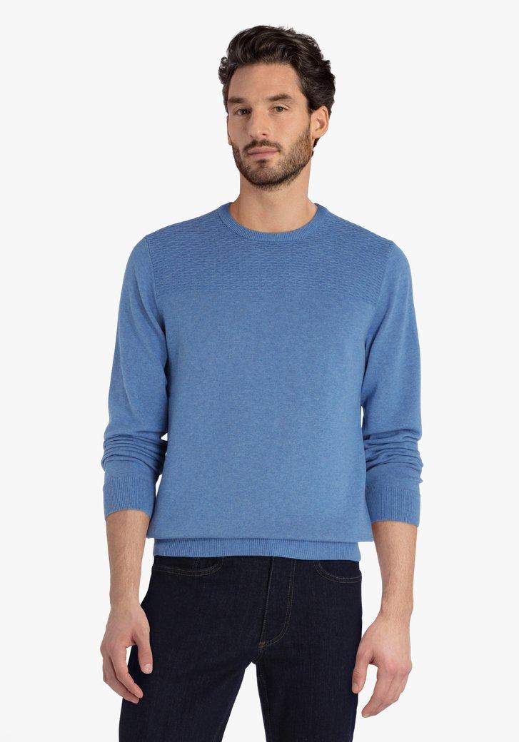 Mediumblauwe katoenen trui met schouderdetail