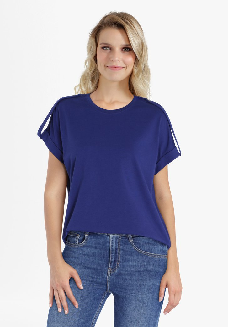 Mediumblauwe T-shirt met schouderdetail