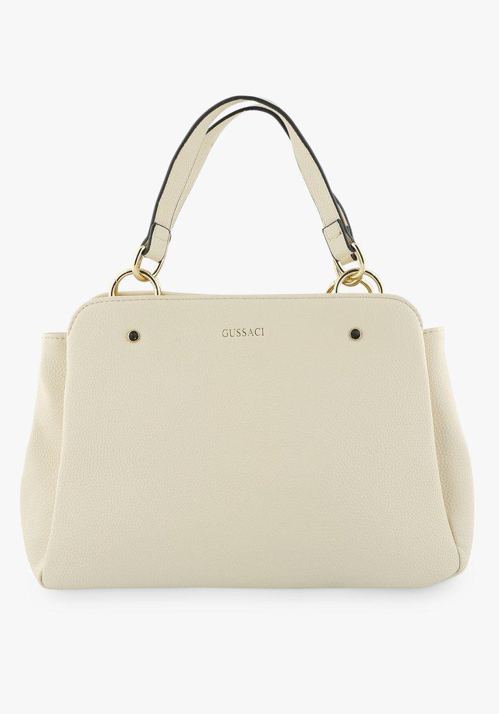 Middelgrote beige handtas met drie vakken
