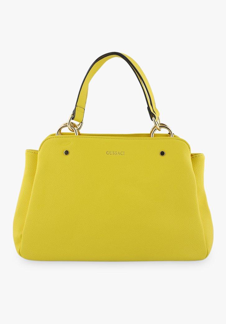 Middelgrote gele handtas met drie vakken