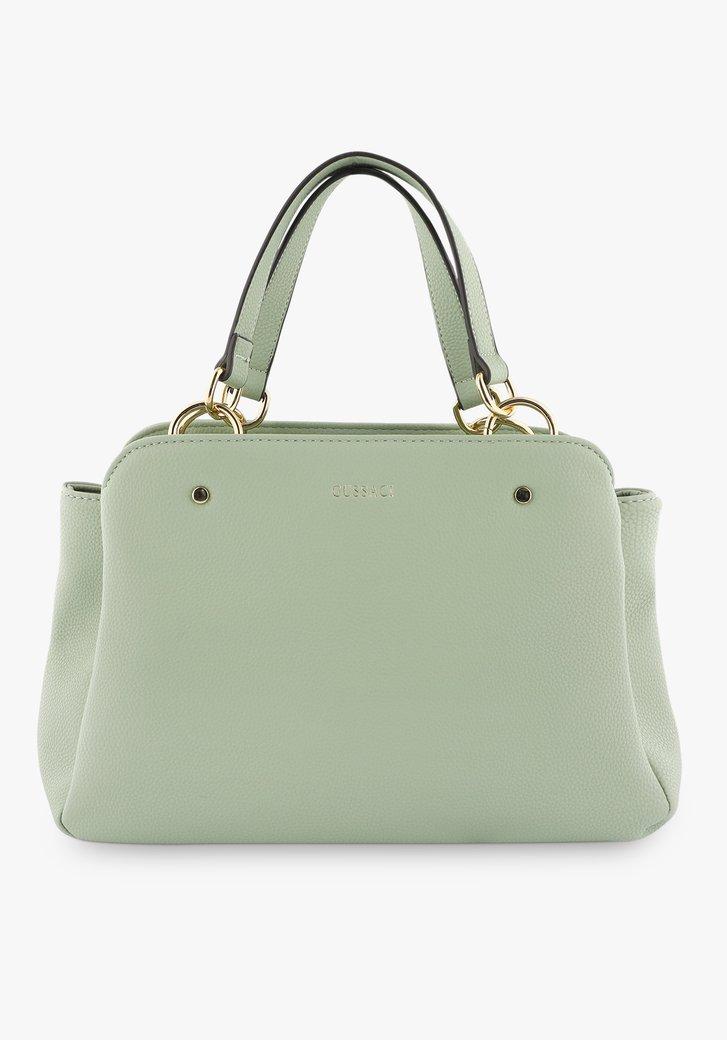 Middelgrote lichtgroene  handtas met drie vakken