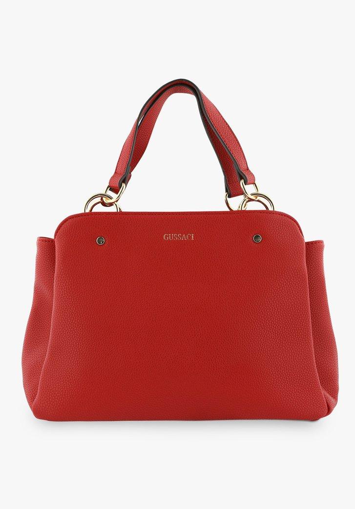 Middelgrote rode handtas met drie vakken