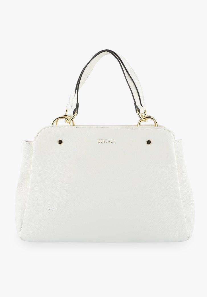 Middelgrote witte handtas met drie vakken