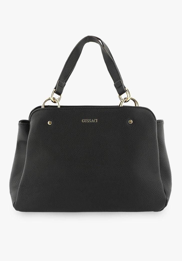 Middelgrote zwarte handtas met drie vakken