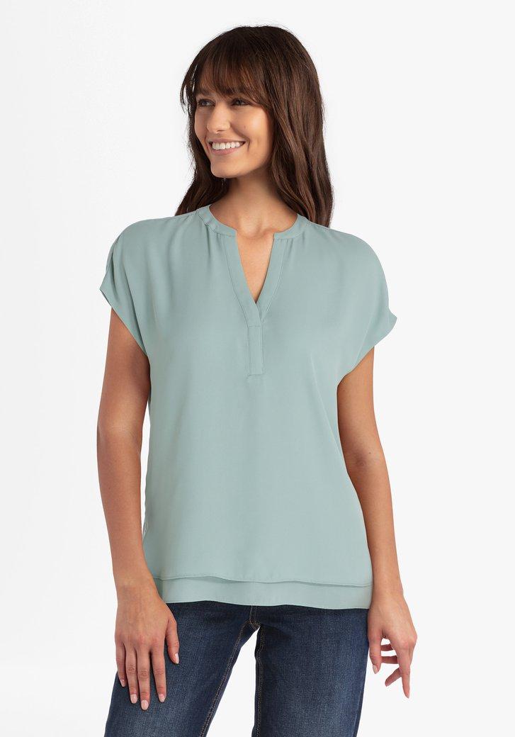 Mintgroene blouse met V-hals