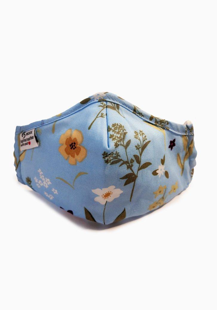 Mondmasker - Kinderen - lichtblauw met bloemen