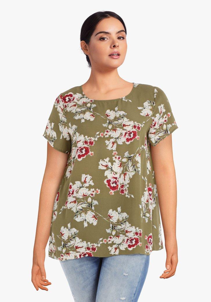 Mosgroene blouse met witte bloemen