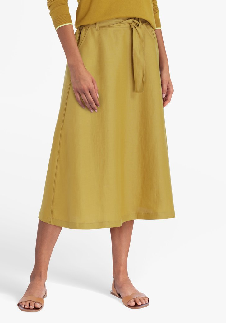 Mosterdegele rok met elastische tailleband